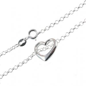 Charm School UK  > Silver Ankle Chains > Sterling Silver Ankle Chain And Heart